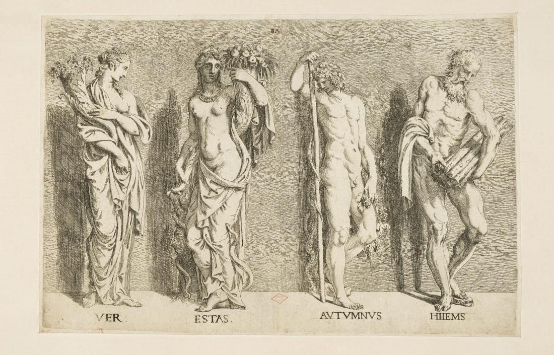 ANGOLO DEL MORO Battista (graveur), PIPPI Giulio (inventeur, d'après) : Les Quatre saisons