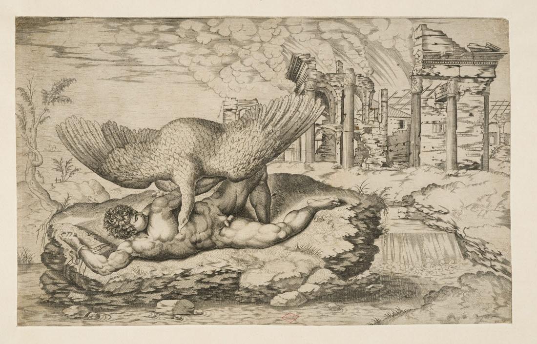 BEATRIZET Nicolaus (graveur), BUONARROTI Michelangelo (inventeur) : Le Supplice de Tityus