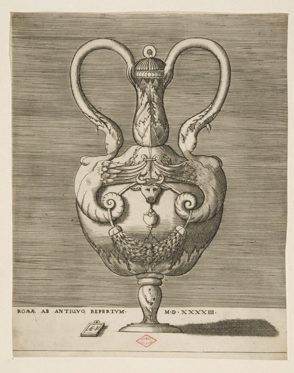 VICO Enea (inventeur, graveur) : Vase à la tête de taureau