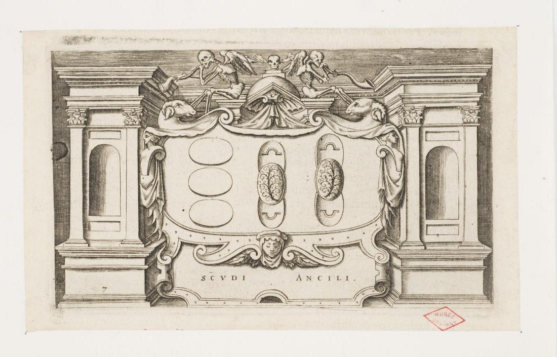 GALIGNANI Simone (éditeur), PORRO Girolamo (graveur, inventeur) : Funérailles des Romains, exposition des boucliers