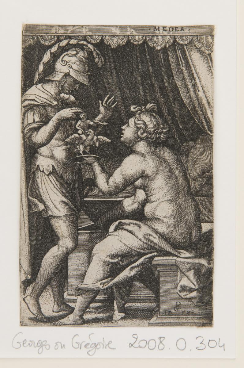 PENCZ Georg (inventeur, d'après, graveur) : Médée remettant entre les mains de Jason ses dieux pénates