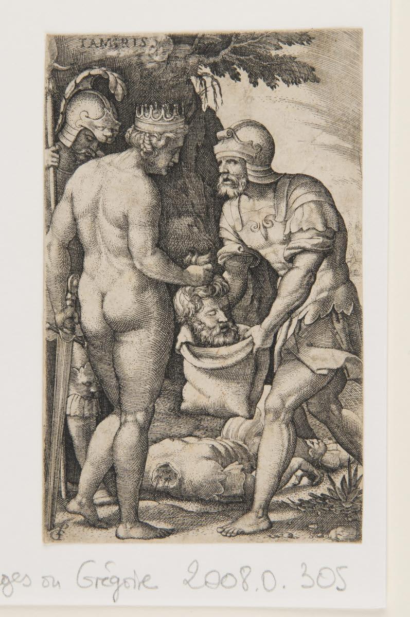 PENCZ Georg (inventeur, d'après, graveur) : Tomyris plongeant la tête de Cyrus dans une outre pleine de sang