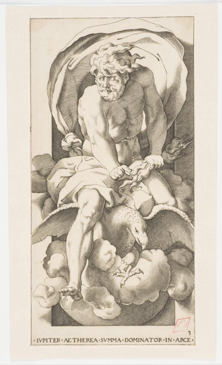 BINCK Jakob (graveur), GIOVANNI Battista di Jacopo (inventeur, d'après), ROSSO Fiorentino (dit) : Jupiter