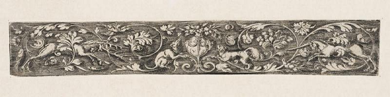 SOLIS Virgil (inventeur, graveur) : Frise de rinceaux avec un cerf et une licorne