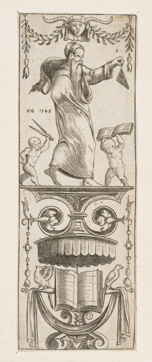 BOS Cornelis (graveur, inventeur) : Panneau d'ornements avec un architecte