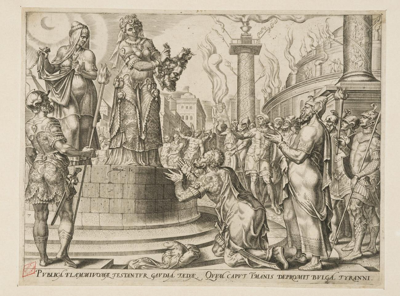 GALLE Philipp (graveur), HEEMSKERCK Maerten Jacobsz van (inventeur) : Judith présentant la tête d'Holopherne au peuple
