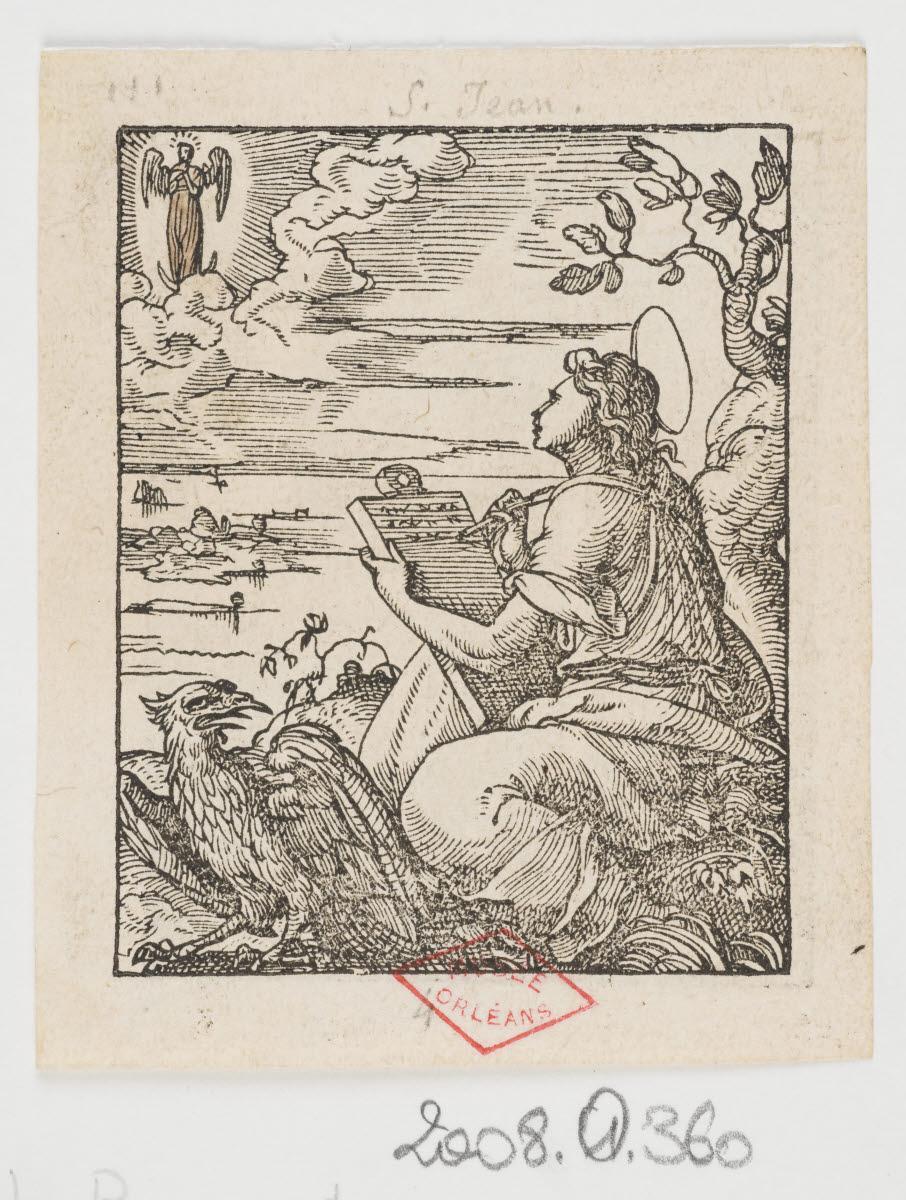 SALMON Bernard (graveur, inventeur), TOURNES Jean de (imprimeur, éditeur) : Saint Jean et l'aigle/Prophéties de Syméon et d'Anne (?)