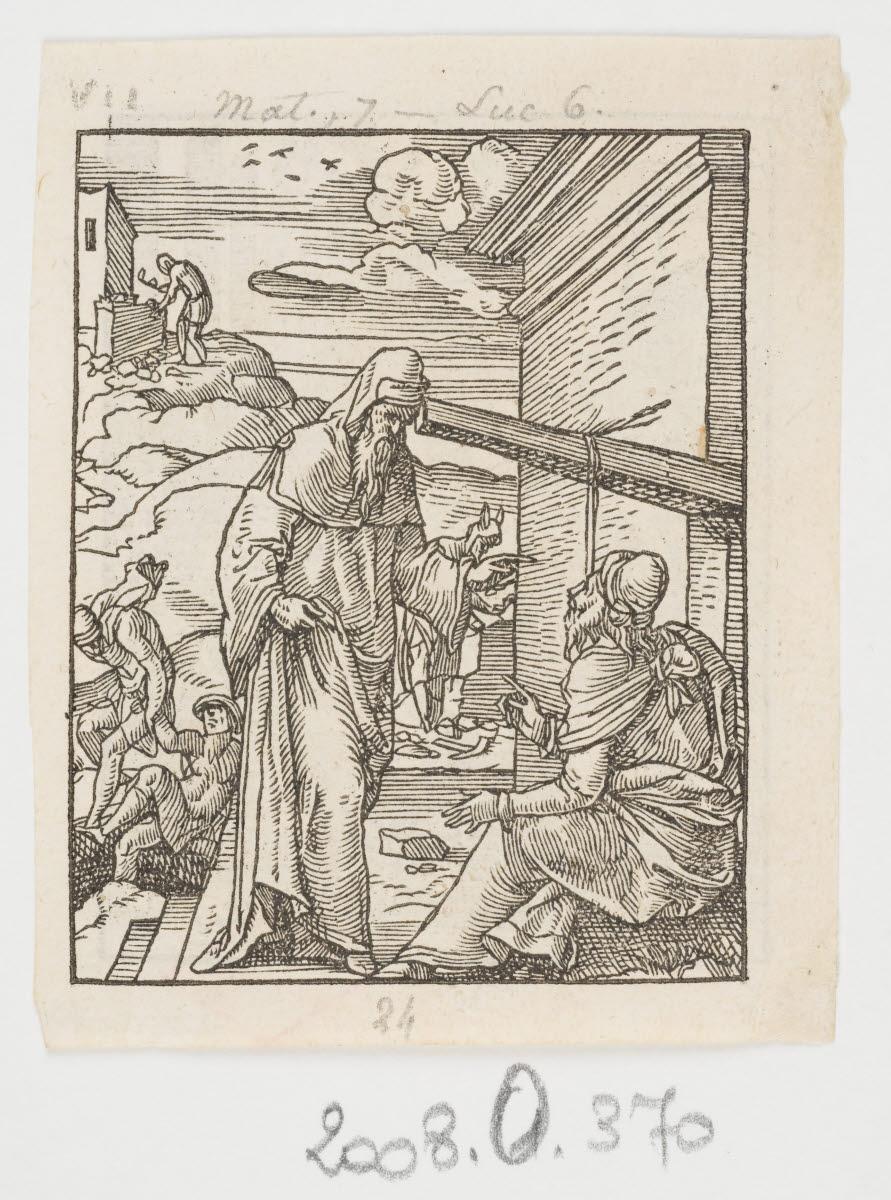 SALMON Bernard (graveur, inventeur), TOURNES Jean de (imprimeur, éditeur) : La Parabole de la paille et de la poutre ou bâtir sur le roc ?/ Guérison du fils d'un officier