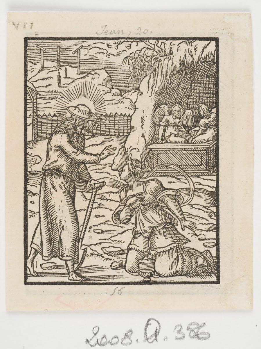 SALMON Bernard (graveur, inventeur), TOURNES Jean de (imprimeur, éditeur) : Apparition du Christ à Marie-Madeleine dans un jardin ( Noli me tangere)/Les Pélerins d'Emmaüs
