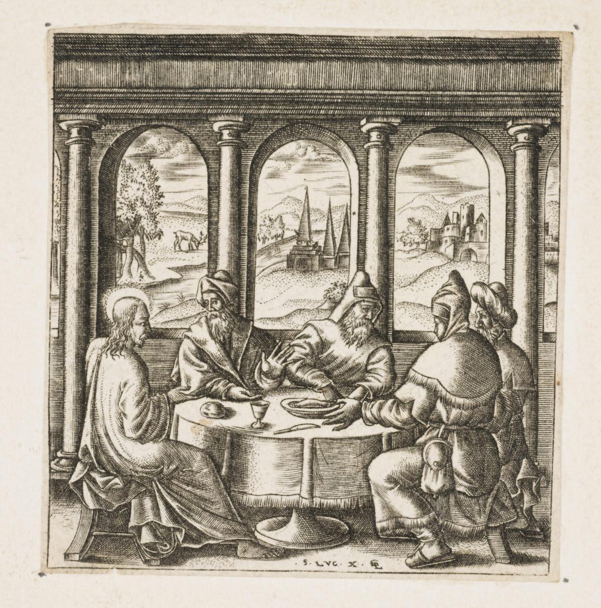 GAULTIER Léonard (inventeur, graveur) : Jésus dînant chez un pharisien