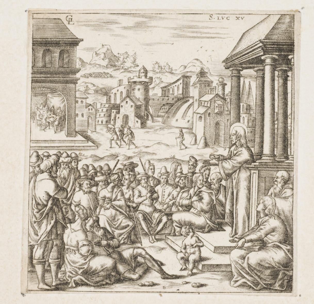 GAULTIER Léonard (inventeur, graveur) : Jésus propose au peuple des paraboles