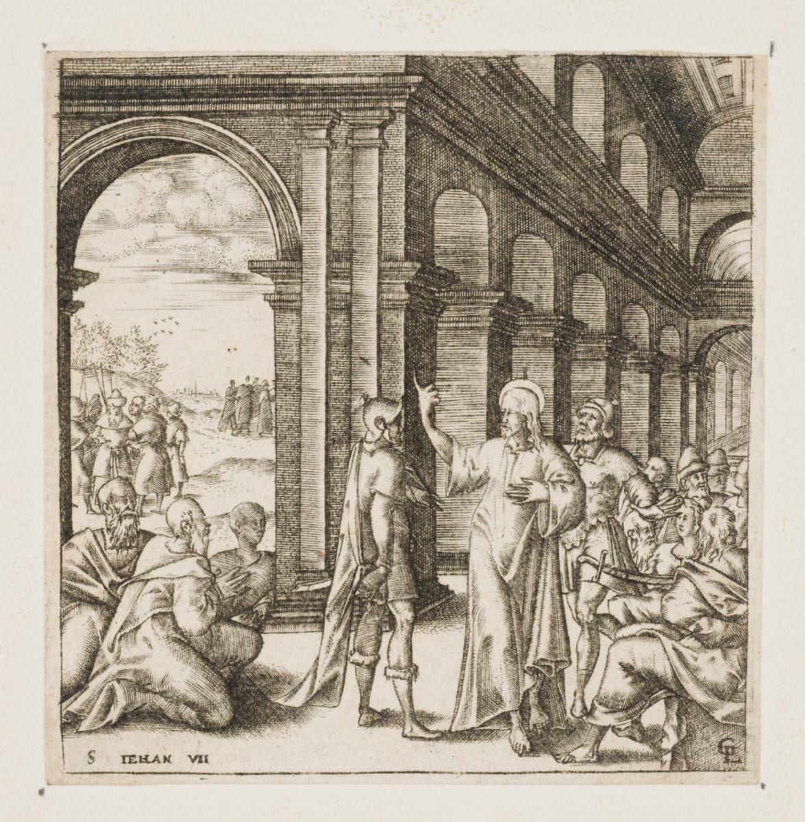 GAULTIER Léonard (inventeur, graveur) : Jésus enseigne dans le Temple