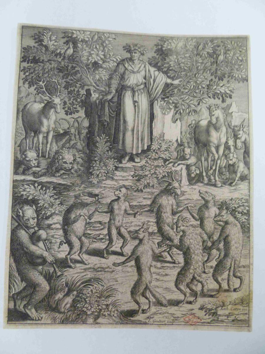 CARON Antoine (inventeur, d'après), GAULTIER Léonard (graveur) : Orphée et les animaux