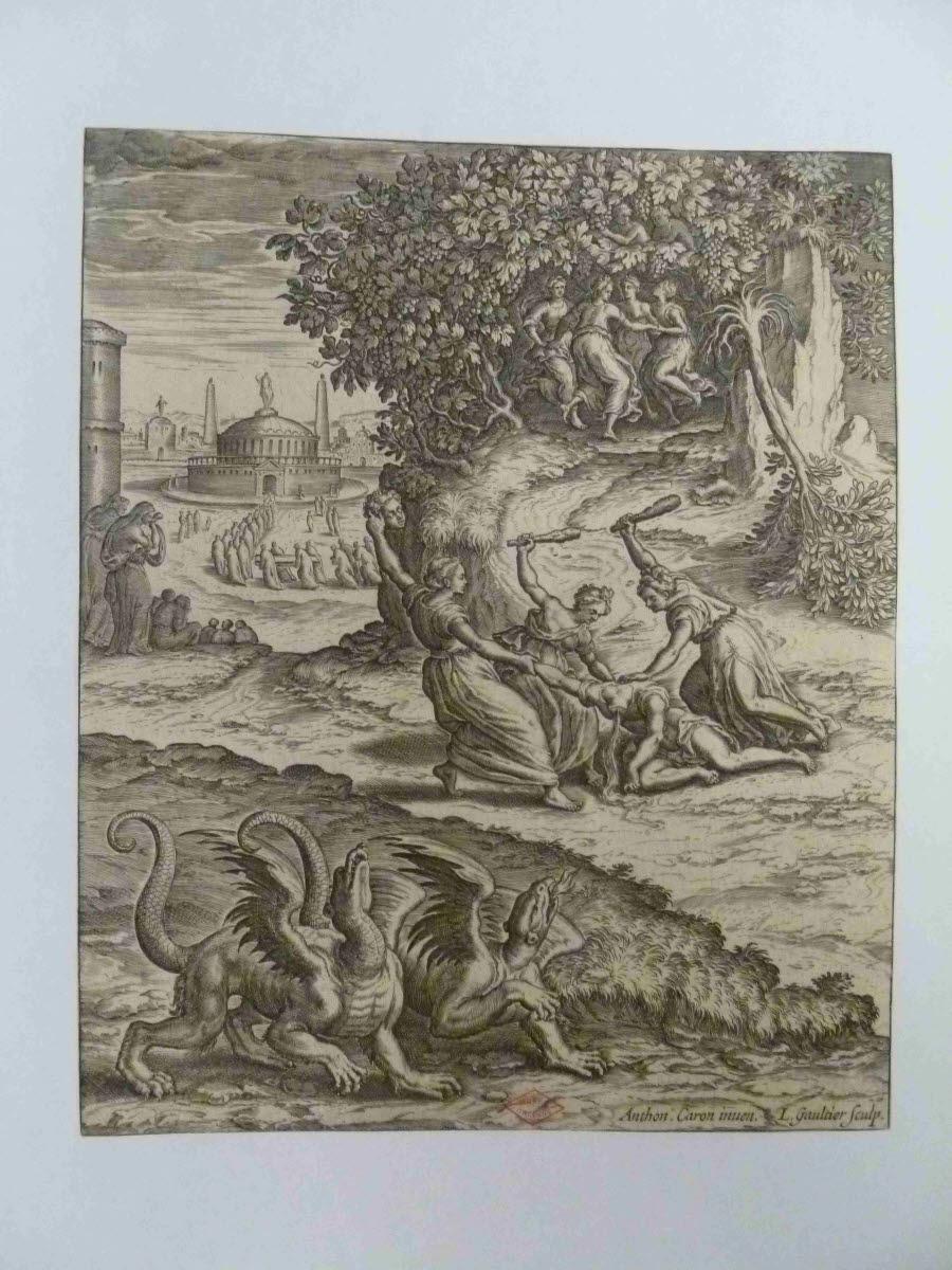 CARON Antoine (inventeur, d'après), GAULTIER Léonard (graveur) : La Mort d'Orphée
