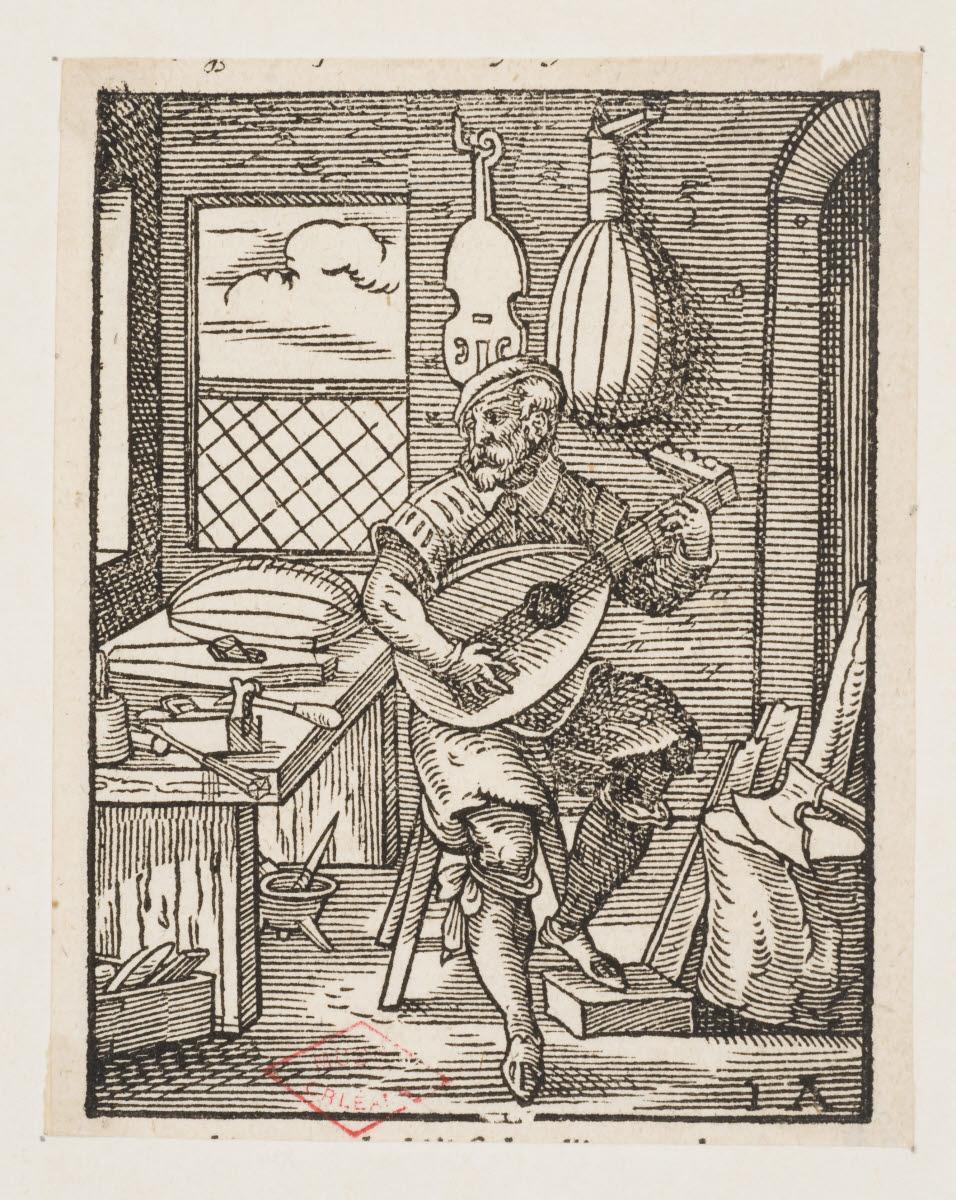AMMAN Jost (inventeur, d'après), anonyme (graveur), CORVIN Georg (éditeur), FEYERABEND Sigmond (imprimeur) : Le Luthier