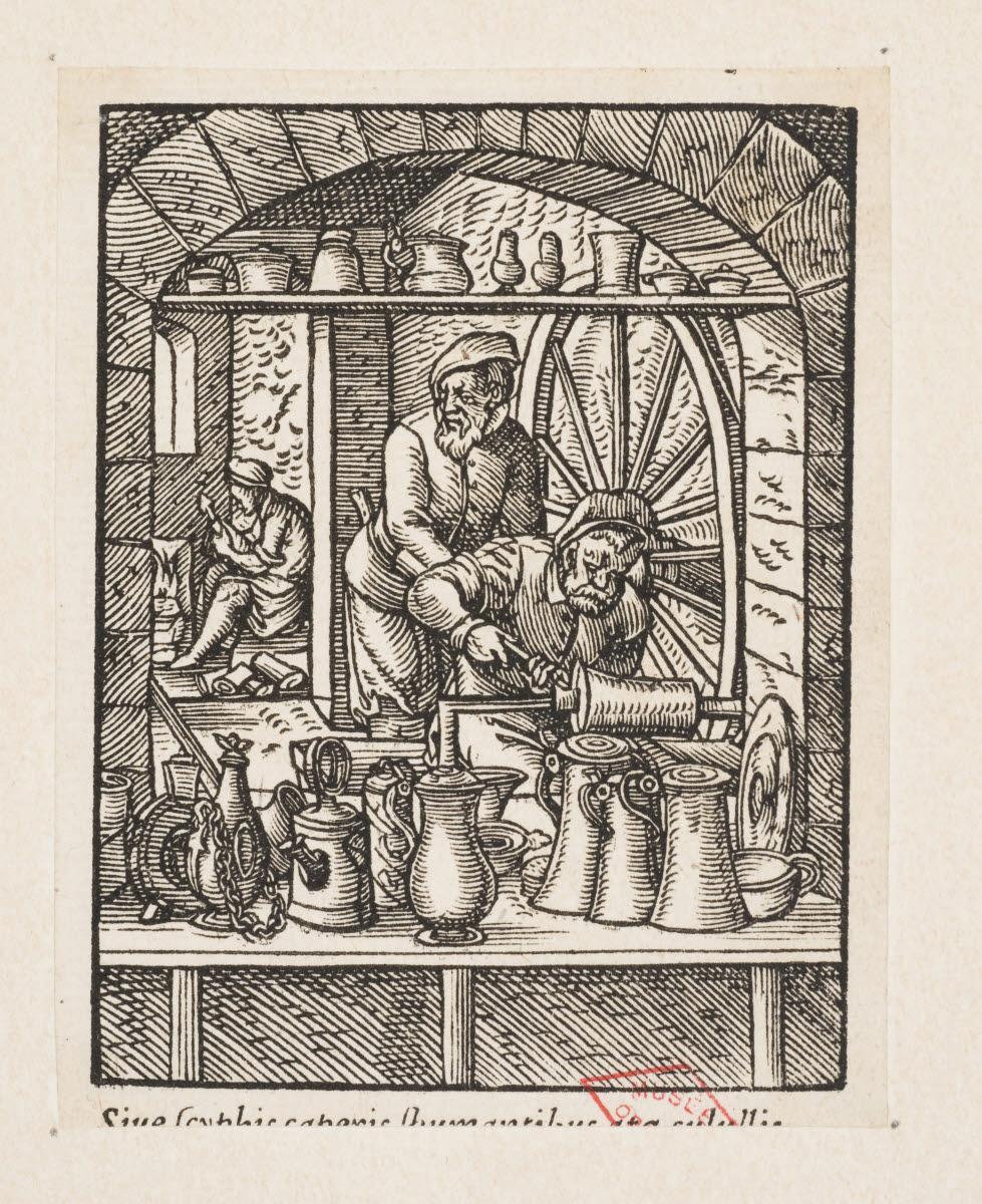 AMMAN Jost (inventeur), anonyme (graveur), CORVIN Georg (éditeur), FEYERABEND Sigmond (imprimeur) : Le Potier d'étain