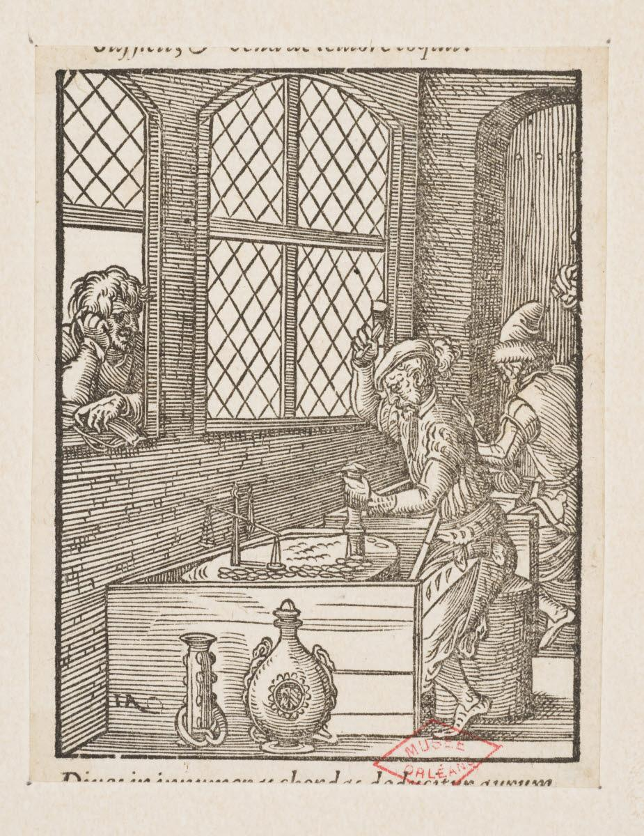 AMMAN Jost (inventeur, d'après), anonyme (graveur), CORVIN Georg (éditeur), FEYERABEND Sigmond (imprimeur) : Le Monétaire