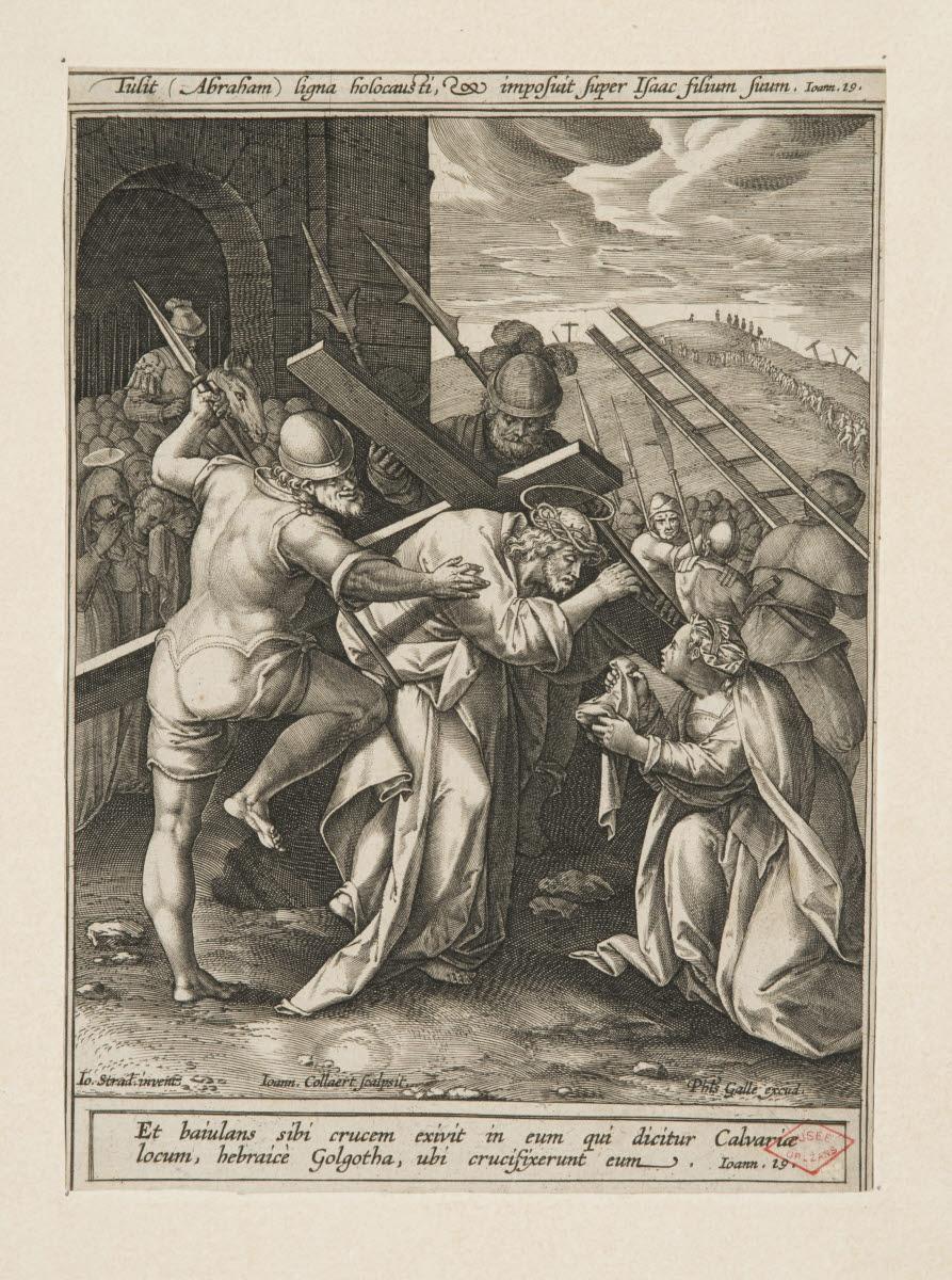 COLLAERT Hans I (graveur), GALLE Philipp (éditeur), STRAET Jan van der (inventeur), STRADANUS (dit) : Le Portement de croix et la Véronique