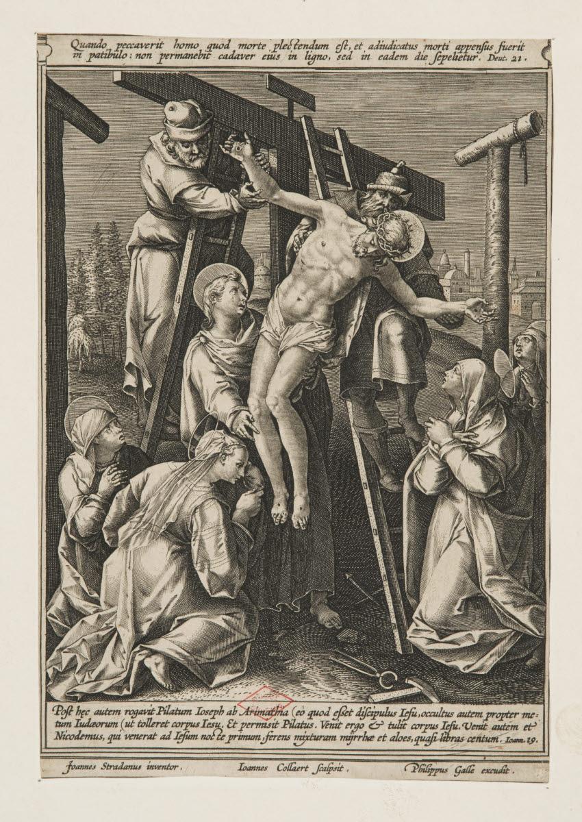 COLLAERT Hans I (graveur), GALLE Philipp (éditeur), STRAET Jan van der (inventeur, d'après) : La Déposition de croix