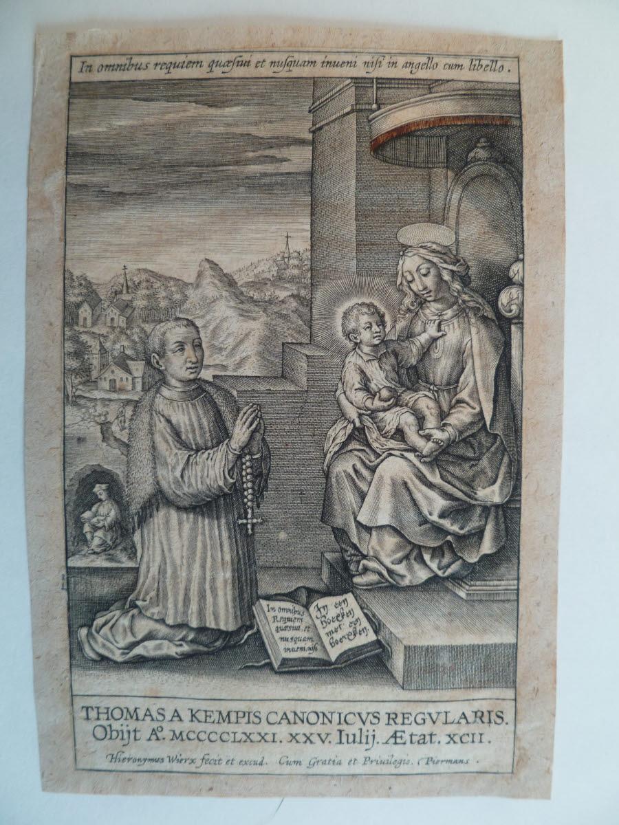 Thomas a Kempis en prière devant la Vierge à l'Enfant_0