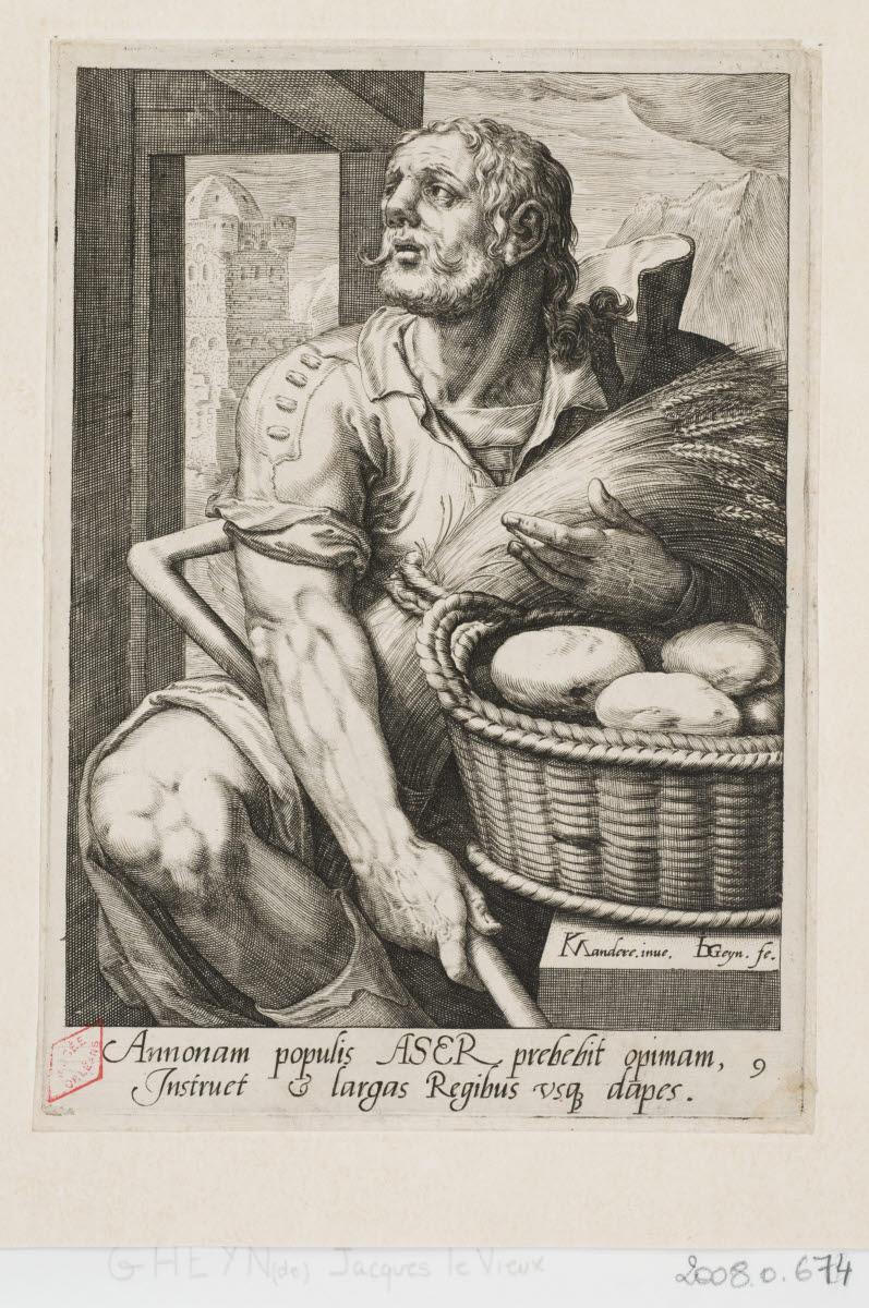 GHEYN Jacob II de (graveur), MANDER Karel I van (inventeur), PITTEN Joan (éditeur) : Aser
