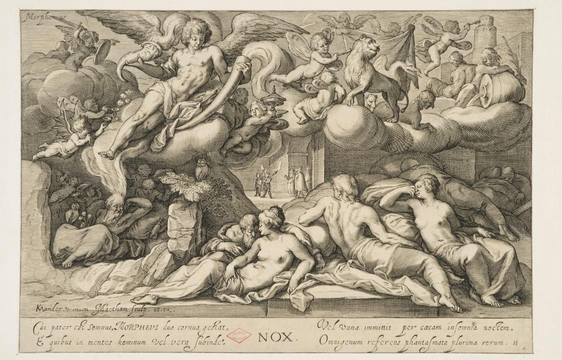 MANDER Karel I van (inventeur, d'après), MATHAM Jacob (éditeur, graveur) : La Nuit