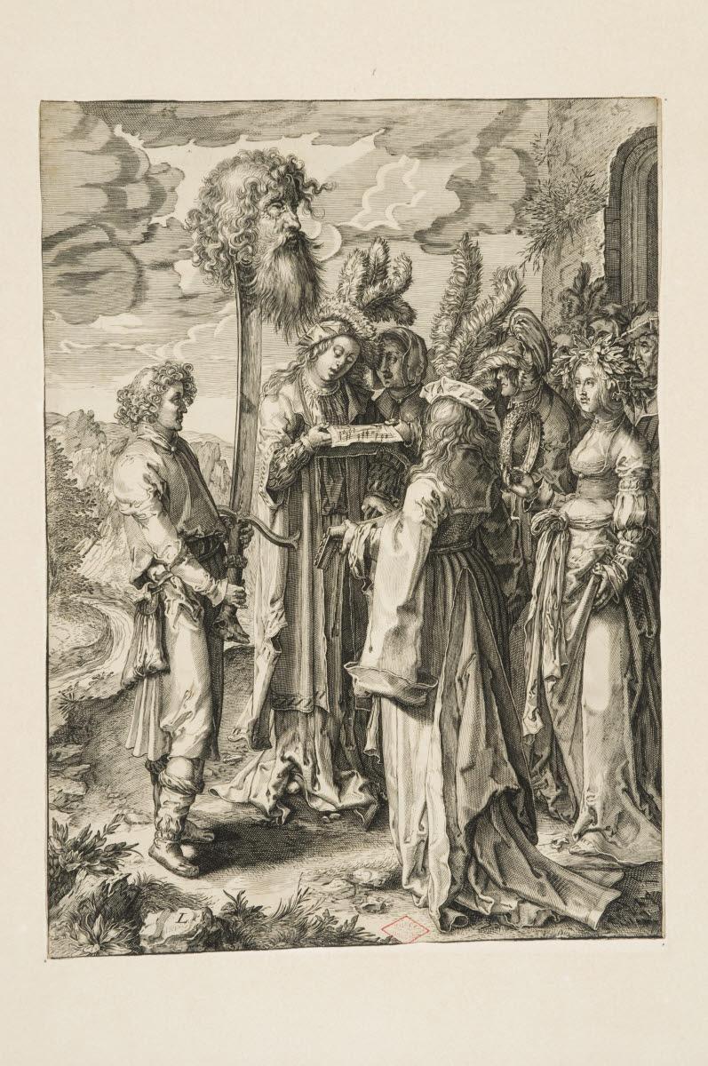 LEYDEN Lucas van (inventeur, d'après), SAENREDAM Jan Pietersz (graveur) : Le Triomphe de David