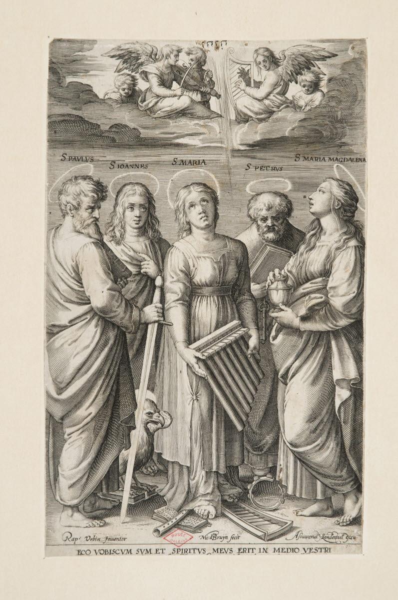BRUYN Nicolaes de (graveur), LONDERSEEL Jan Van (éditeur), SANZIO Raffaello  (inventeur, d'après) : Sainte Cécile entourée de saint Paul, saint Jean, saint Pierre et sainte Marie-Madeleine