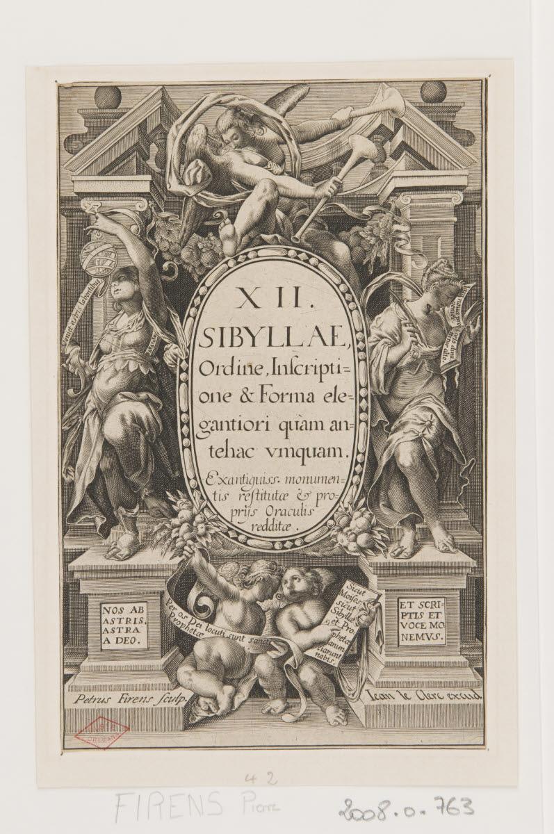 FIRENS Pierre I (graveur), LECLERC Sébastien II (éditeur), PASSE Crispin I Van de (?, inventeur, d'après), PASSE Crispin II Van de (?, inventeur, d'après) : Frontispice de la série L'Agneau pascal, le Sauverur et les douze sybilles
