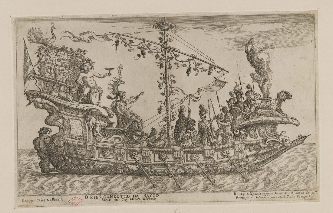 CANTAGALLINA Remigio (graveur), PARIGI Giulio (inventeur, d'après) : Bateau de parade avec Orphée et Bacchus