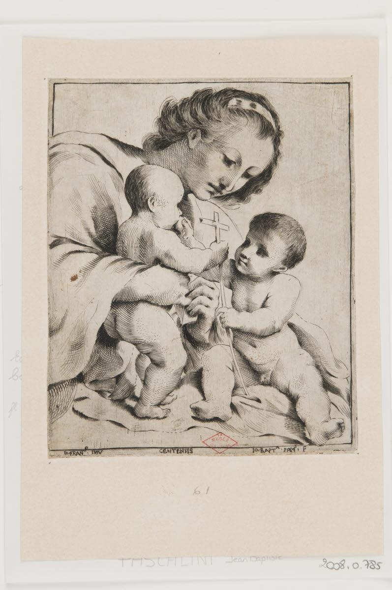 PASQUALINI Giambattista (graveur) : Vierge à l'Enfant avec saint Jean-Baptiste