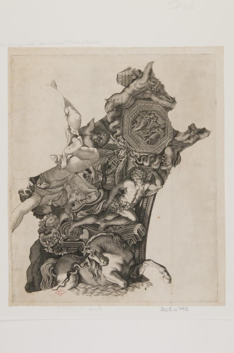 CUNGI Camillo (inventeur, graveur) : Un élément de plafond du palais Barberini du Quirinale