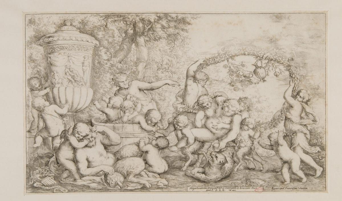 POTESTA Giovanni Andrea (graveur, inventeur), SALVUCIO Francesco (éditeur) : Bacchanale avec Silène