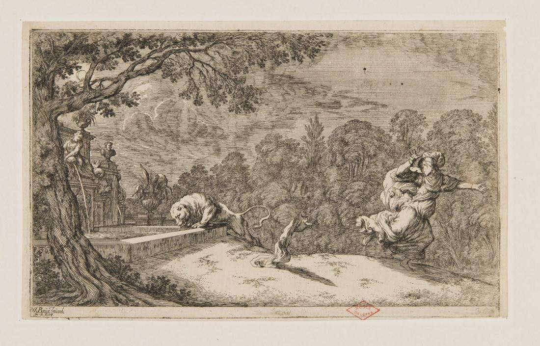 Une femme fuyant un lion dans un paysage_0