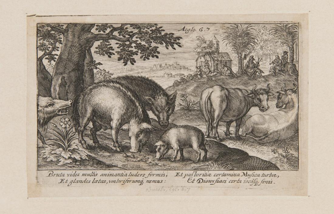 Sangliers, vaches et bergers dans un paysage_0