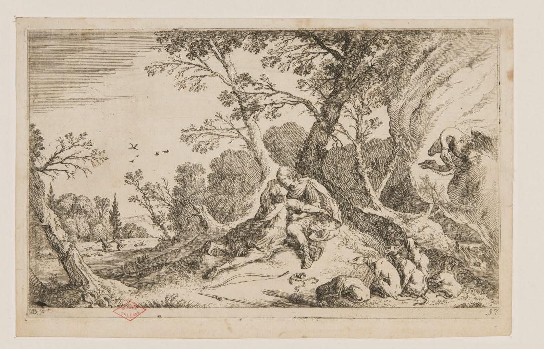 Deux personnages dans un paysage avec des chiens et un attelage de cygnes (Céphale et Procris ?)_0