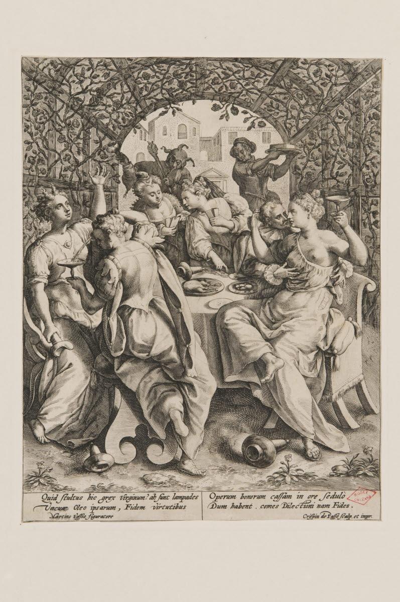 PASSE Crispin I Van de (? ,graveur, imprimeur), PASSE Crispin II Van de (? ,graveur, imprimeur), VOS Marten de (inventeur, d'après) : Les  Vierges folles