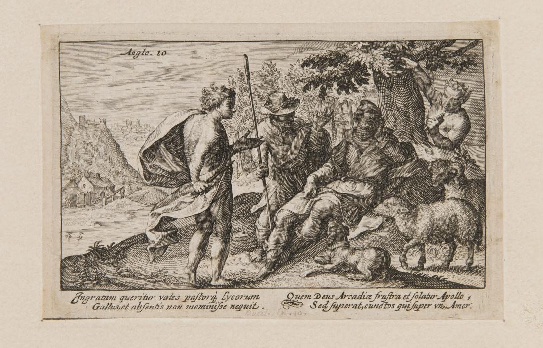 Trois bergers en conversation, un faune les observant_0