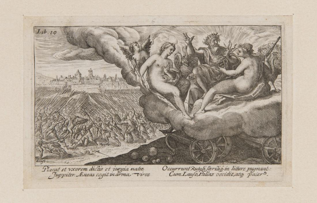 PASSE Crispin I Van de (?, inventeur, graveur, éditeur), PASSE Crispin II Van de (?, inventeur, graveur, éditeur) : Jupiter, Junon et Vénus surplombant des combats