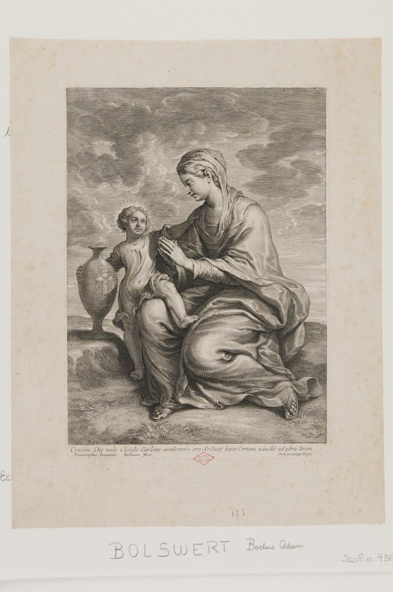 BOLSWERT Boetius Adams (graveur), LE PARMESAN (dit), MAZZOLA Francesco (inventeur, d'après) : La Vierge et l'Enfant