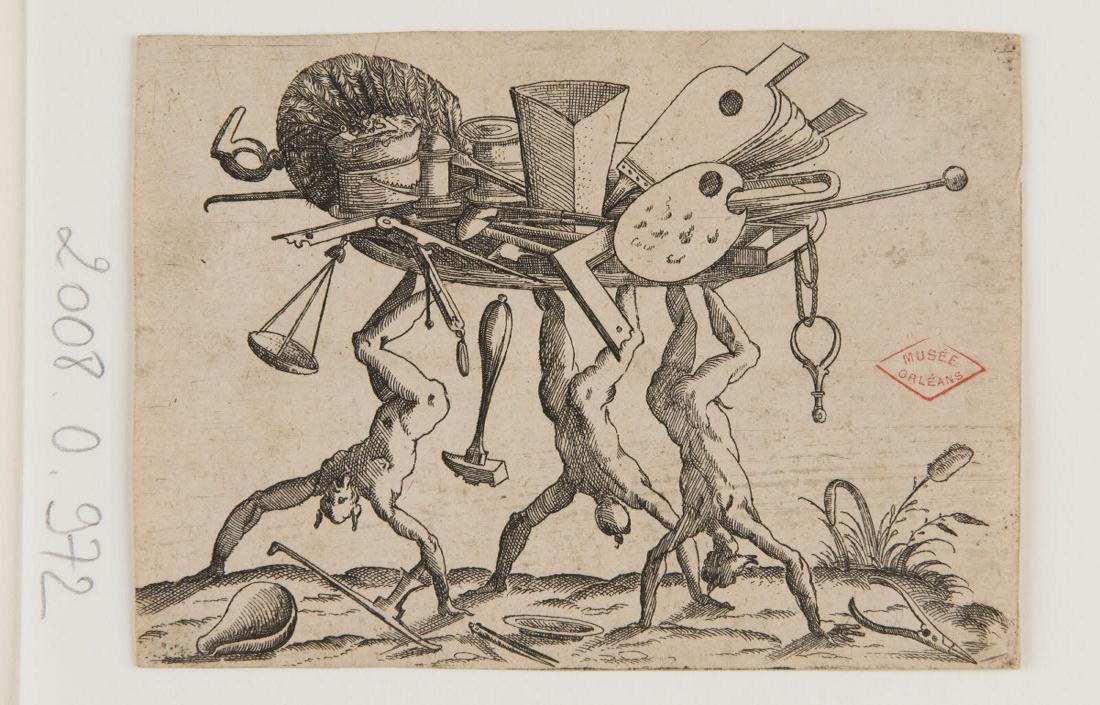 anonyme (graveur, inventeur) : Trois satyres la tête en bas supportant un plateau d'outils
