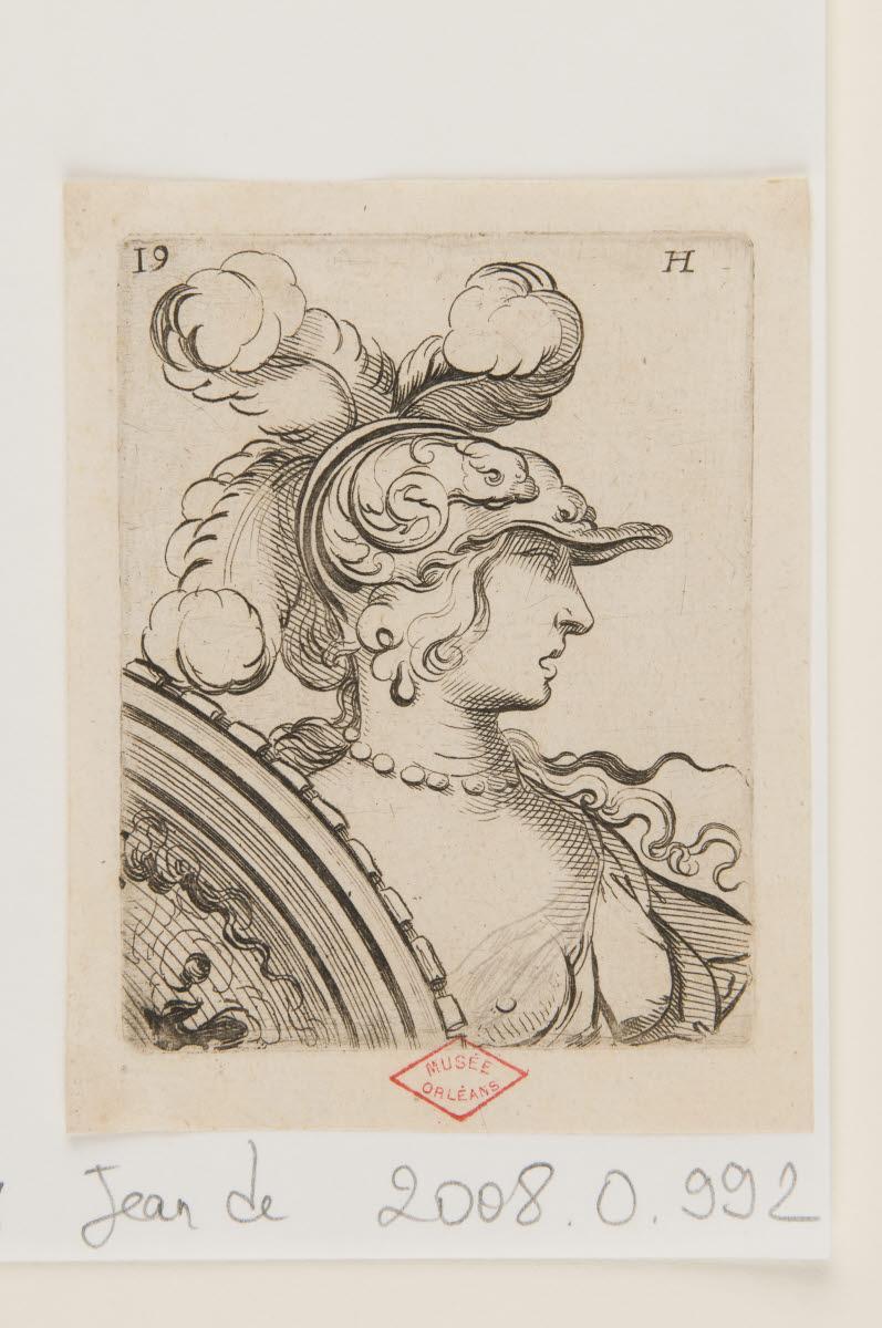 SAINT-IGNY Jean de (graveur, inventeur) : Buste de femme casquée de profil