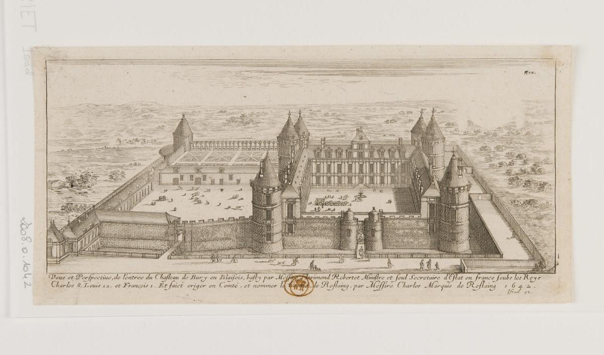 anonyme (inventeur, d'après) (?), HENRIET Israël (?, éditeur, graveur), SILVESTRE Israël (?, éditeur) : Vue et perspective de l'entrée du château de Bury en Blaisois