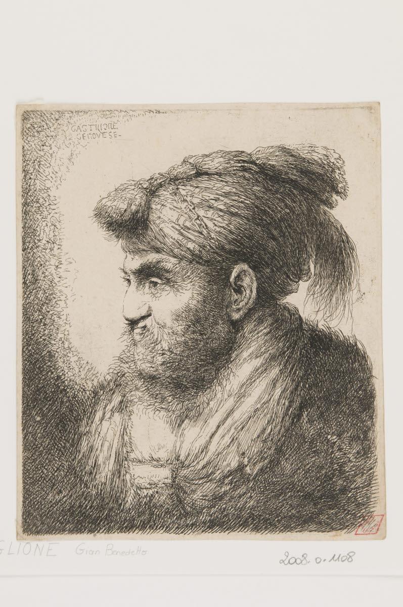 Tête d'homme barbu de profil coiffé d'un bonnet_0