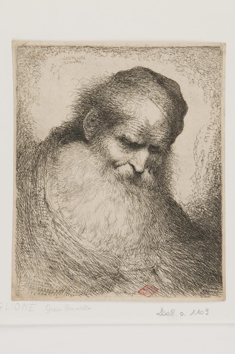 Tête d'homme barbu de trois quart face_0
