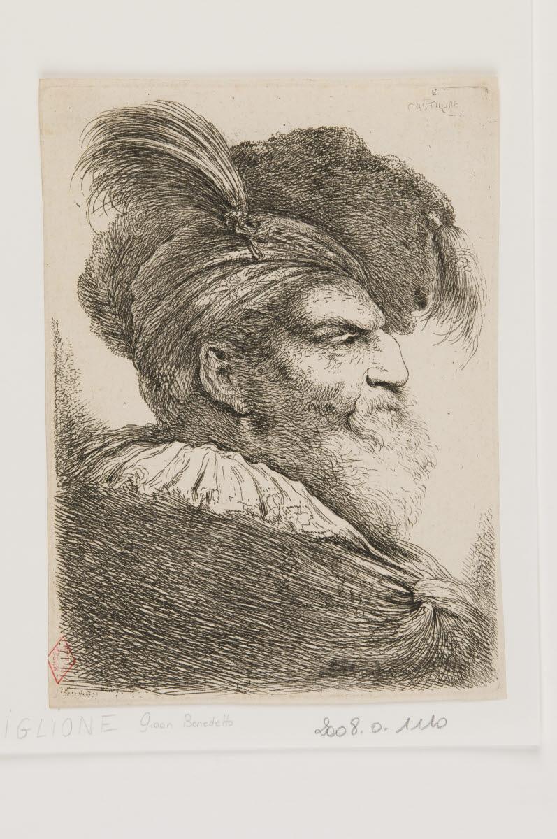 Tête d'homme barbu de profil coiffé d'un bonnet à aigrette_0