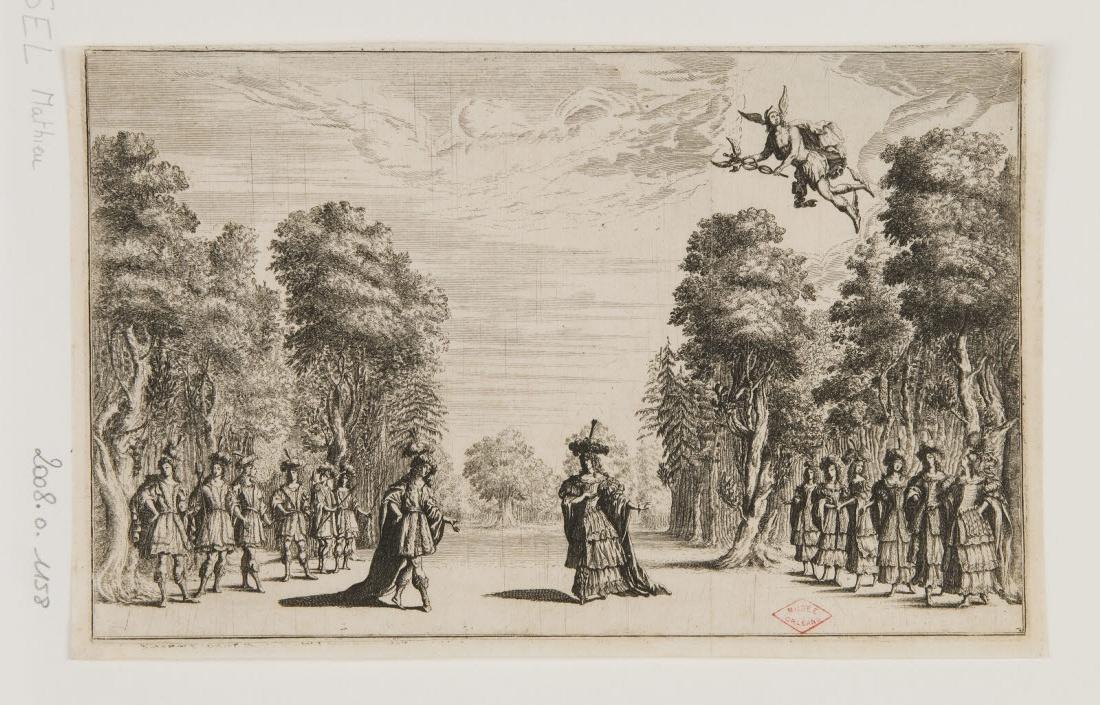BURNACINI Ludovico (inventeur, d'après), KUSEL Mattias (graveur) : Représentation théâtrale avec des personnages dans une forêt et Mercure descendant du ciel