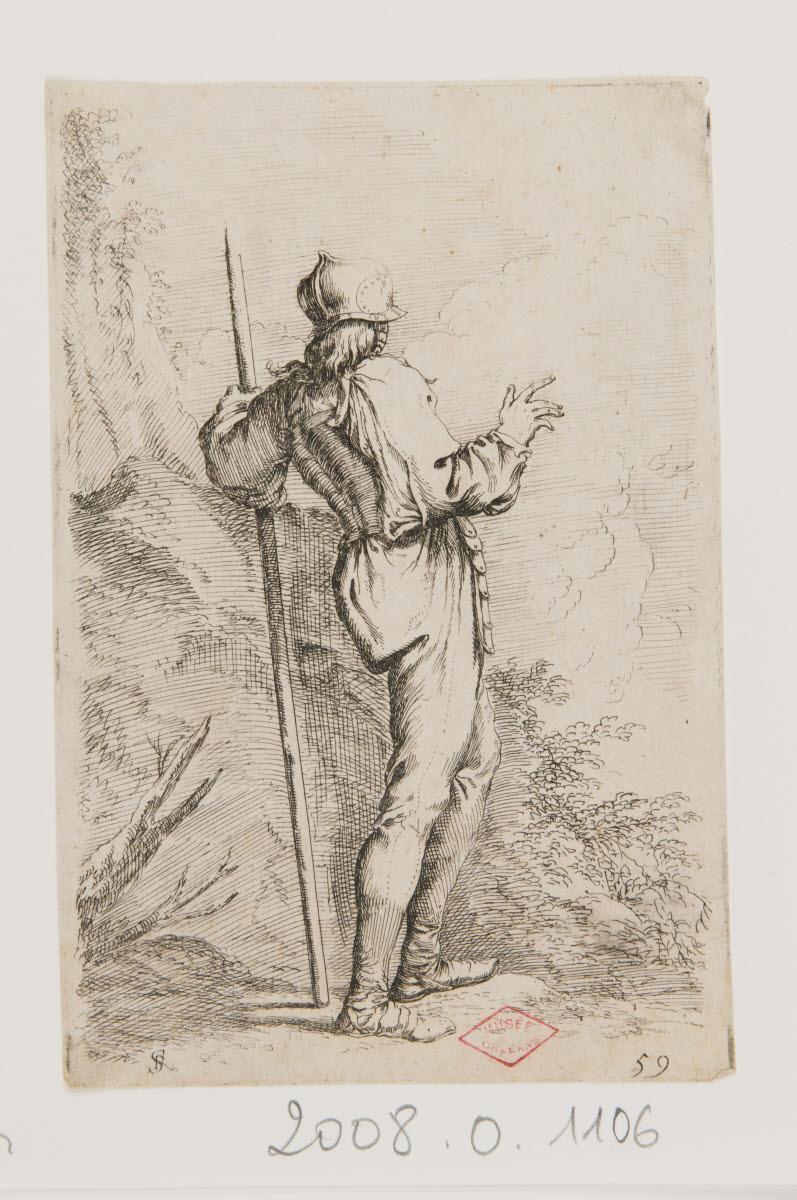 Un soldat de dos appuyé sur un bâton_0
