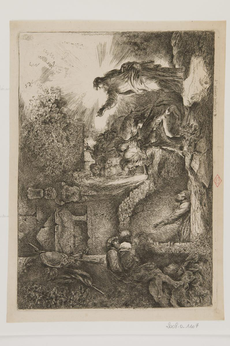 CASTIGLIONE Giovanni Benedetto (inventeur, graveur) : La Résurrection de Lazare