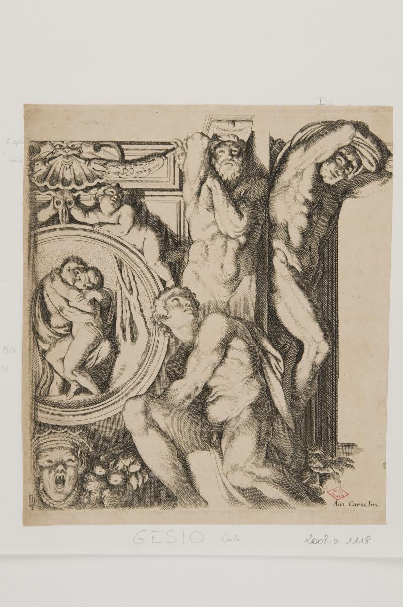 CARRACCI Annibale (inventeur), CESIO Carlo (graveur) : Un élément du décor de la galerie Farnèse